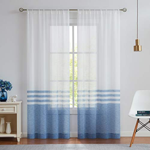 WEST LAKE Stripe Sheer Curtain Panels Color Block Farmhouse Window Treatment Drapery Sets Colorblock for Bedroom, Balcony, Living Room, Rustic Rod Pocket Design, 40 x 63 inch, 2 Panels, Blue and White