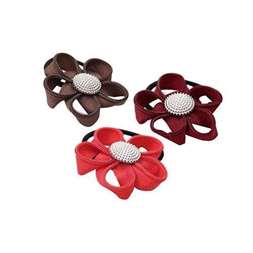 Ensemble de 12 bandes de cheveux porteurs Ponytail Motif floral Elastics cheveux Mignon
