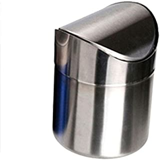 gloednApple Stainless Steel Mini Garbage Can Table Desk Trash Rubbish Bin Storage Bucket Countertop Trash Can & Swing Lid Household 1.5L (Silver)