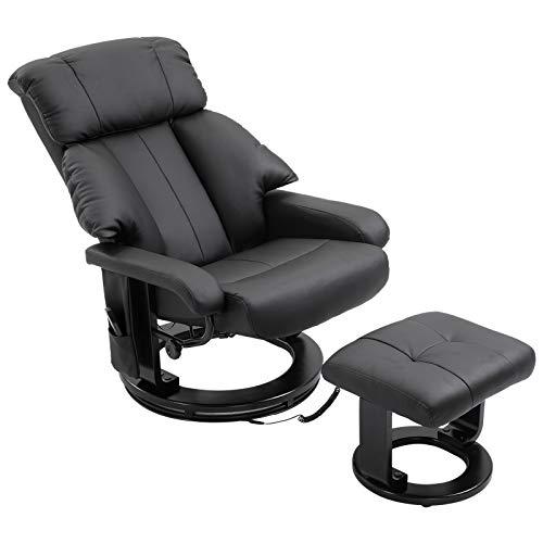 homcom Poltrona Reclinabile Massaggiante con Funzione di Riscaldamento e Poggiapiedi (76.83 x 73.02 x 95.25cm)