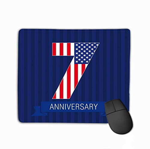 Mousepad Custom Design Gaming Mouse Pad Rubber Oblong Mouse Mat 11.81 X 9.84 Inch Anniversary us Flag Logo Template Celebrating Icon TH Place as American USA Numbers
