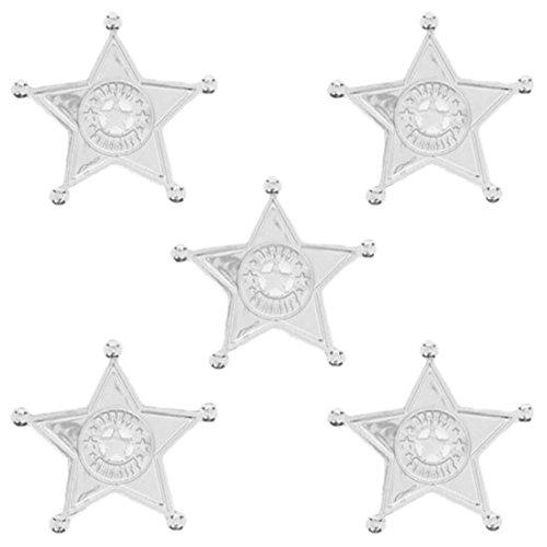 erdbeerclown- Wild West Party Sheriff Sterne, 8 Stück , Silber