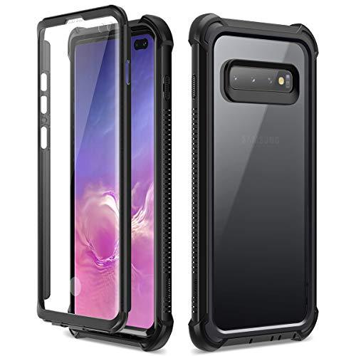 Dexnor Funda Samsung Galaxy S10 Plus, Carcasa con Parachoques de Silicona de 360 Grados, [A Prueba de Golpes] [Ligero] Panel Posterior Transparente, Protector de Pantalla Incorporado - Negro
