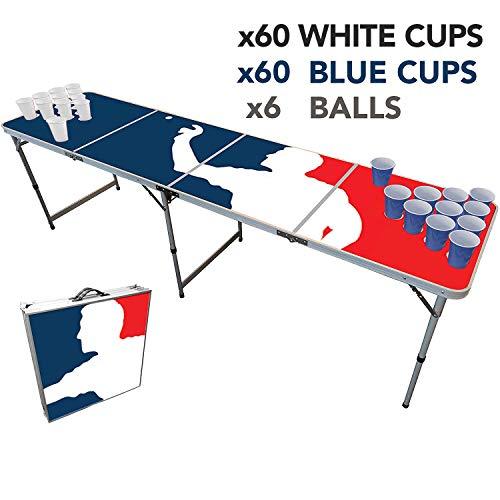Offizieller Player Beer Pong Tisch Set | Full Beer Pong Pack | Inkl. 1 Beer Pong Tisch + 120 53cl Becher (60 Weiß & 60 Blau) + 6 Ping-Pong-Bälle | Premium Qualität | Partyspiele | Trinkspiele
