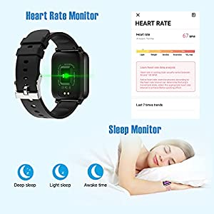 """Smart Watch 2021 Watches for Men Women, Fitness Tracker 1.69"""" Touch Screen Smartwatch Fitness Watch Heart Rate Monitor, Pedometer, Sleep Monitor, IP67 Waterproof Activity Tracker for Android iPhone"""