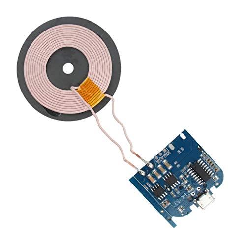 CandyTT DC5V 1A qi Módulo de Cargador inalámbrico de Bobina estándar Base del transmisor Placa PCBA Modificación de Programa Universal Estilo A (Negro)
