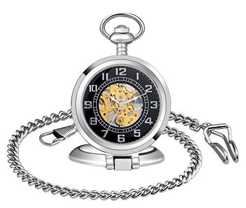 MICGIGI Orologio da taschino meccanico a carica manuale, da uomo/donna, con catena
