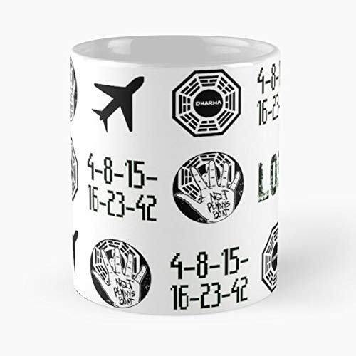 Lost-Symbols Eat Food Bite John Best 11 oz Taza de café de cerámica blanca que Je personalize