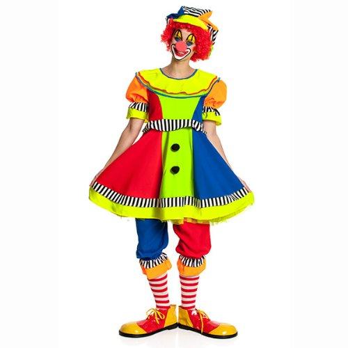 Kostümplanet® Clown-Kostüm Damen mit Clown-Mütze Karnevals-Kostüm Größe 44/46