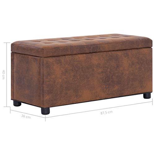 vidaXL Ottoman mit Stauraum Sitzhocker Sitzwürfel Sitzbank Aufbewahrungsbox Hocker Truhenbank Sitztruhe Truhe Sitzbox 87,5cm Braun Wildleder-Optik - 6