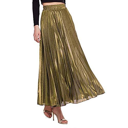 Women's Premium Metallic Shiny Herringbone Pattern Shimmer Pleated Formal Accordion Midi Skirt Gold-S