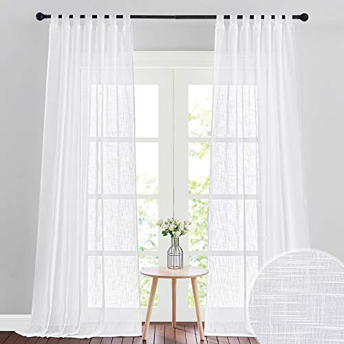 RYB HOME Sheer Curtains 108 inches Long, Linen Textured Sheer Curtains Privacy Light Filtering High Ceiling Window Curtains for Living Room Dining, W 52 x L 108 inch, Set of 2, White
