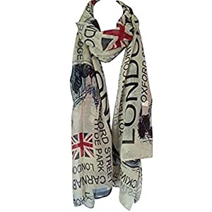 Tiny Susie Union Jack Scarf London Souvenir Gift Soft and Oversize Fashion Scarf (Beige1)