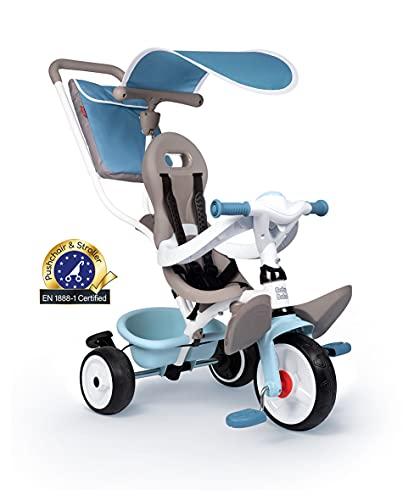 Smoby - Baby Balade blau - Mitwachsendes Kinderdreirad mit Schubstange, Sitz mit Sicherheitsgurt, Metallrahmen, Pedal-Freilauf, für Kinder ab 10 Monaten