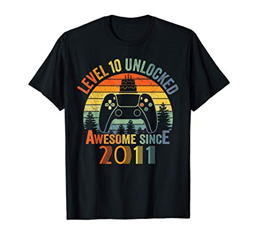 Level 10 Unlocked Video Gamer 10 Years Old 10 Birthday Gifts T-Shirt