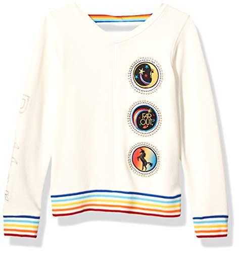 Butter Girls' Little Pullover Sweatshirt, Vneck Buttercream, 5