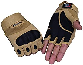 Riparo Tactical Touchscreen Gloves Military Shooting Hunting Rubber Outdoor Gloves (Medium, Sand Fingerless)