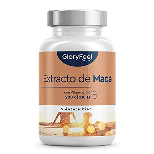Extracto de Maca Andina 2.500mg + B12 Vitamina - 200 Cápsulas Veganas para 6+ meses - Mayor concentración 10:1 - Vitamina B12 para una mejor absorción - Aumenta Energía y Vitalidad