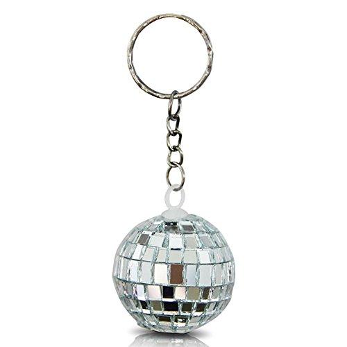 24 x HC-Handel 916430 Schlüsselanhänger Discokugel Disco Kugel silber 4 cm