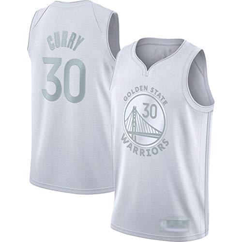 Maillots de baloncesto Curry Maillots para hombre, tejido transpirable sin mangas #30 chaleco blanco