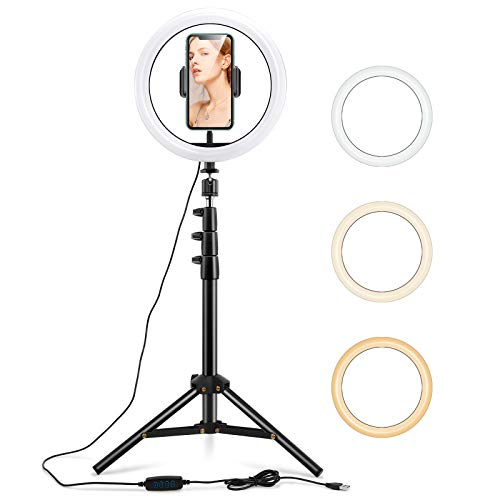 ESR Luz TIK Tok 10' LED Anillo de Luz, Aro de Luz con Trípode y Soporte para Teléfono Móvil, 3 Modos de Luces para Tiktok Live, Vlogs, Youtube, Selfies, Maquillaje y Fotografía, Intensidad Regulable