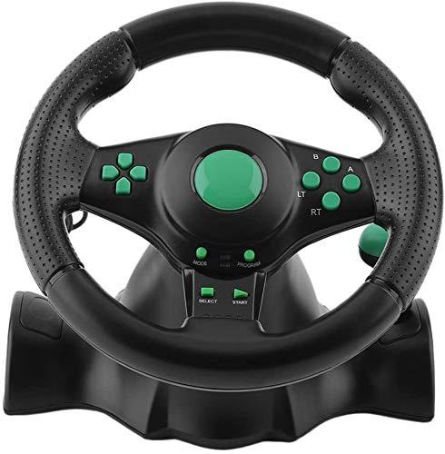 WUAZ Volant De Jeu, 180 Degrés De Rotation ABS Jeu Vibration Volant De Course avec Pédales