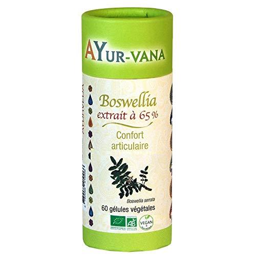 AYur-vana Boswellia Serrata 60 Gélules Bio Extrait Titré à 65% d'Acides Boswelliques