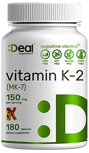 Eagleshine Vitamins Vitamin K2 MK-7 Menaquinone 150 mcg, 6 Months Supply, Supports Bone Health | Cardiovascular Health - Advanced Vitamin K2 Supplement (180 Capsules)