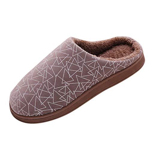 LuckyGirls Mujeres Hombres Parejas Geométrico Flock Cálido Piso Antideslizante Zapatillas de casa Zapatillas de Interior