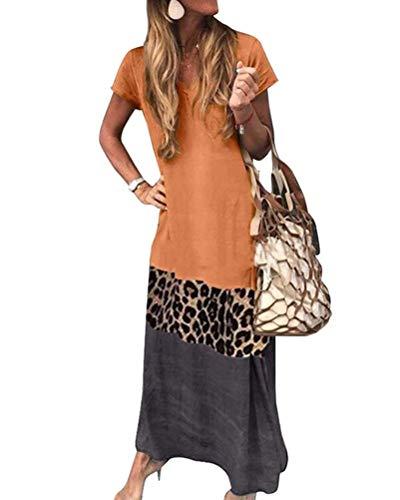 Onsoyours Mujer Casual Playa Largos Verano Vestido Cuello En V Boho Hendidura Falda Larga Maxi Vestido Playeros Bloque De Color Estampado Leopardo Vestido B Naranja 48
