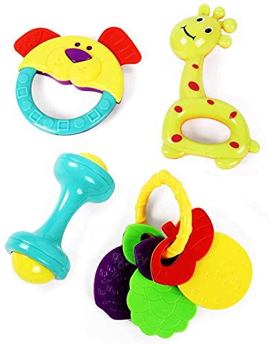 SmallBerry Baby Rattles and Teether for Babies   Toy   Colourful Lovely Attractive Rattles, Toddlers & Children   Plastic   Teether for New Born and Infants (Pack of 4 Multicolor) (Rattle 4 pcs)