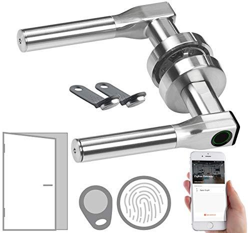 VisorTech Schliesszylinder: Sicherheits-Türbeschlag mit Fingerabdruck, Transponder, App, DIN links (Fingerscanner)
