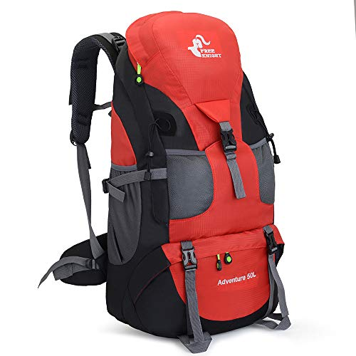 50L Waterproof Ultra Lightweight Hiking Backpack,Frameless,Outdoor Sport Daypack Travel Bag for Climbing Camping Touring Mountaineering Fishing (Red)