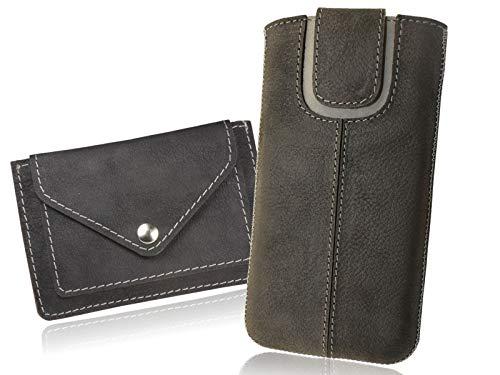 OrLine Handytasche geeignet für BlackBerry Q10 mit Mini Geldbörse. Ledertasche Tasche Echtleder Etui Leder-Hülle (Lasche mit Rückzugfunktion Ausziehhilfe) Schutzhülle Hülle