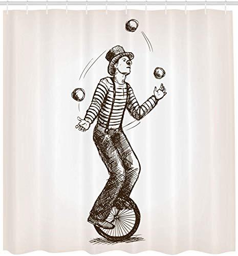 vrupi Zirkus Duschvorhang Jonglieren Clown Mann Leistung im Retro-Stil Skizze Reiten Fahrrad Fahrrad 71 x 71 Zoll Polyester wasserdichtes Gewebe einschließlich zwölf Kunststoffhaken