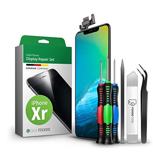GIGA Fixxoo Kit di Ricambio per Schermo di iPhone XR, Completo con LCD Nero, Touch Screen Display Retina in Vetro, Fotocamera e Sensore di Prossimità - Guida Illustrata per Riparazione Facile