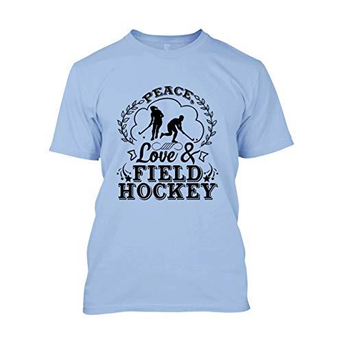 Peace Love and Field Hockey Camiseta de algodón para hombre y mujer, playera de algodón ultra - azul claro, XL