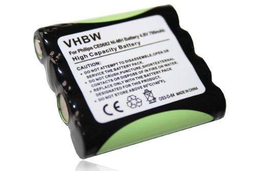 vhbw Batería compatible con Philips CE0682 & Hartig + Helling Babyruf MBF 4848, MBF 6666, MBF 8020, MBF BÜG 2004 vigilabebés -(Ni-MH, 700mAh, 4.8V)
