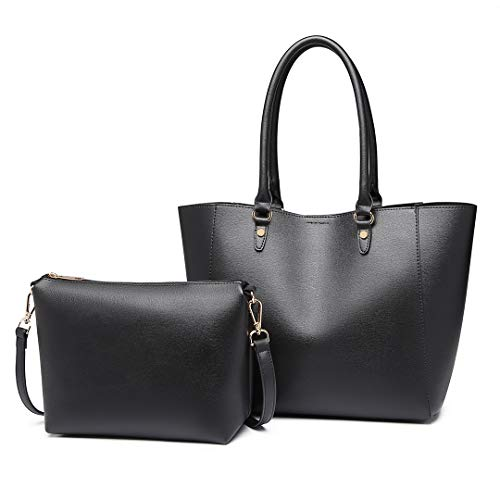 Miss Lulu Women Fashion Handbags PU Leather Top Handle Tote Bag Shoulder Satchel Bag 2pcs Set (Black)