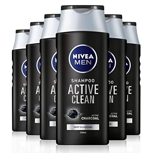 NIVEA MEN Active Clean Shampoo 6er Pack (6 x 250 ml), Aktivkohle Shampoo für normales Haar, Tiefenreinigungsshampoo für Männer mit frischem maskulinen Duft