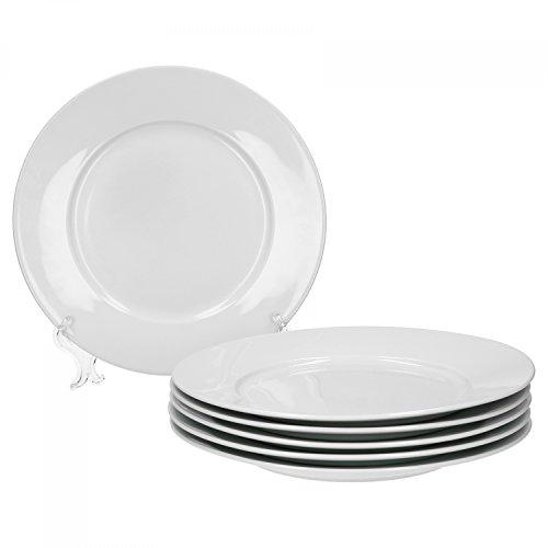 Van Well Trend 6er Set Speiseteller, flach Ø 24 cm weiß Porzellan Geschirr Teller
