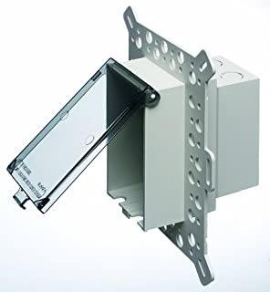 Arlington DBVM1C-1 Low Profile IN BOX Electrical Box with Weatherproof Cover for New Construction Stucco/Textured Surfaces/Rigid Siding, Vertical, 1-Gang, Clear