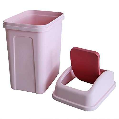 Teyyvn 7 Liter / 1.8 Gallon Plastic Trash Can, Small Garbage Can with Swing Lid (Pink)