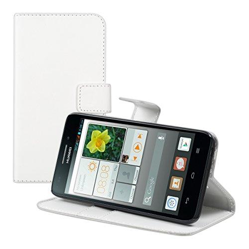kwmobile Hülle kompatibel mit Huawei Ascend G620s - Kunstleder Wallet Hülle mit Kartenfächern Stand in Weiß