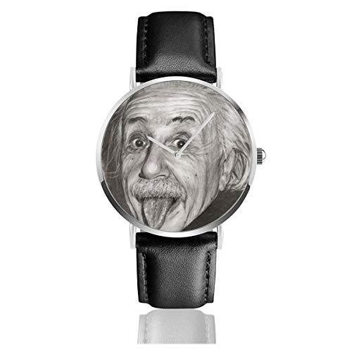 Albert Einstein Zunge Lederarmband Uhr Lässig Edelstahl Quarz Handgelenk Schwarz Lederband und dünnes Zifferblatt