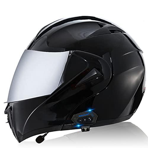 Casco Bluetooth Moto Modular,ECE Homologado Adultos Casco Flip Up Modular Casco Moto Integral con Doble Visera,Sistema de Comunicación de Intercomunicación Integrado MP3 FM C3,XL