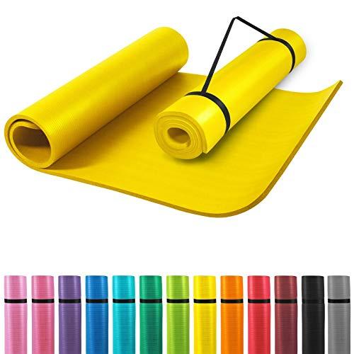 GORILLA SPORTS® Yogamatte mit Tragegurt 190 x 60 x 1,5 cm rutschfest u. phthalatfrei – Gymnastik-Matte für Fitness, Pilates u. Yoga in Gelb