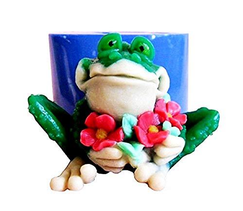 Lovelegis Frosch Silikonform mit Blumen - Kerzen - Harz - Gips - Weihnachts- und Geburtstagsgeschenkidee - Silikonformen - Bastelform