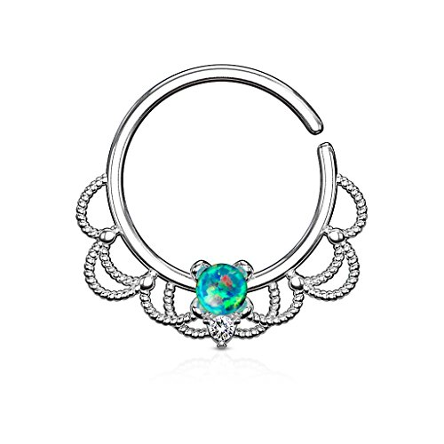 Gekko Body Jewellery Green Opal Set Bendable Hoop Ring for Nose Septum,...