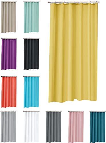 one-home Duschvorhang 180x200 cm wasserdicht Uni Badewannen Vorhang inklusive 12 Ringe, Farbe:gelb